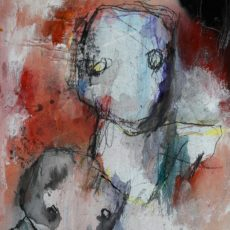 Mort à crédit, gemengde techniek op board, 20 x 28 cm, 2017