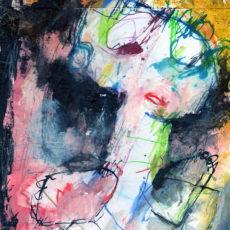 Soft voices that speak nothing, speak nothing to the end, gemengde techniek op karton, 21 x 29,7 cm, 2017