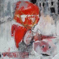 No Future, mixed media on canvas board, 24 x 30 cm, 2017