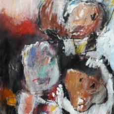 Het kind van de rekening, mixed media on paper, 29,7 x 42 cm, 2017