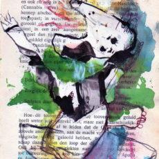 Bloedstelpende kracht van toovergezangen, mixed media on book page, 12,7 x 17,6 cm, 2017