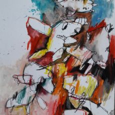 Cyber Insekts, mixed media on paper, 30 x 40 cm, 2019