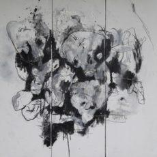 Bad Animal, mixed media on canvas, 90 x 90 cm, 2019