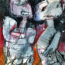 Refugees, mixed media on paper, 13,5 x 19,6 cm, 2019.