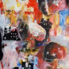 In het gareel, mixed media on canvas, 100 x 120 cm, 2020