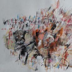 Noli Me Tangere, mixed media on paper, 65 x 50 cm, 2020