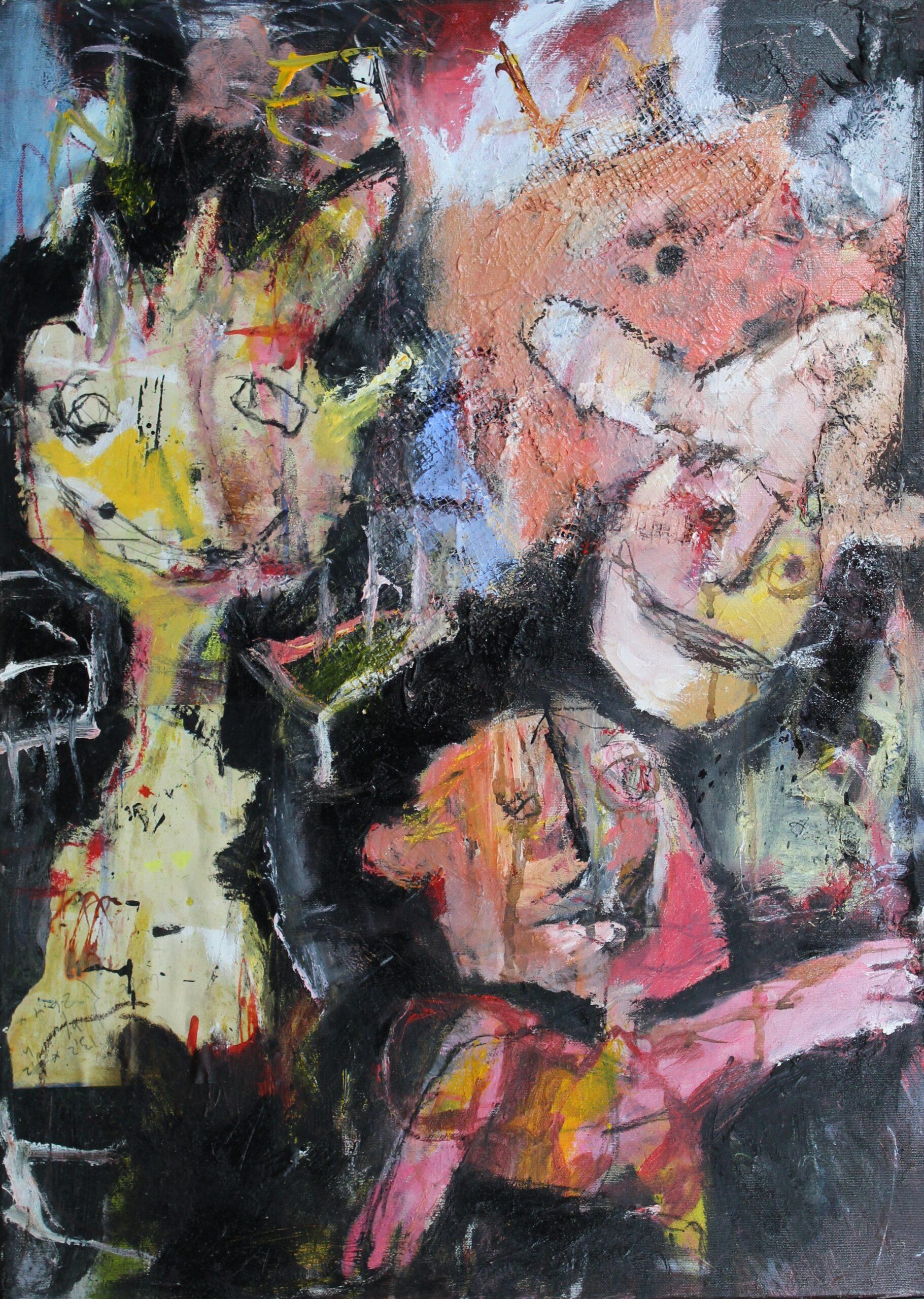 It's okay (we love you anyway), gemengde techniek en assemblage op canvas, 50 x 70 cm, 2014