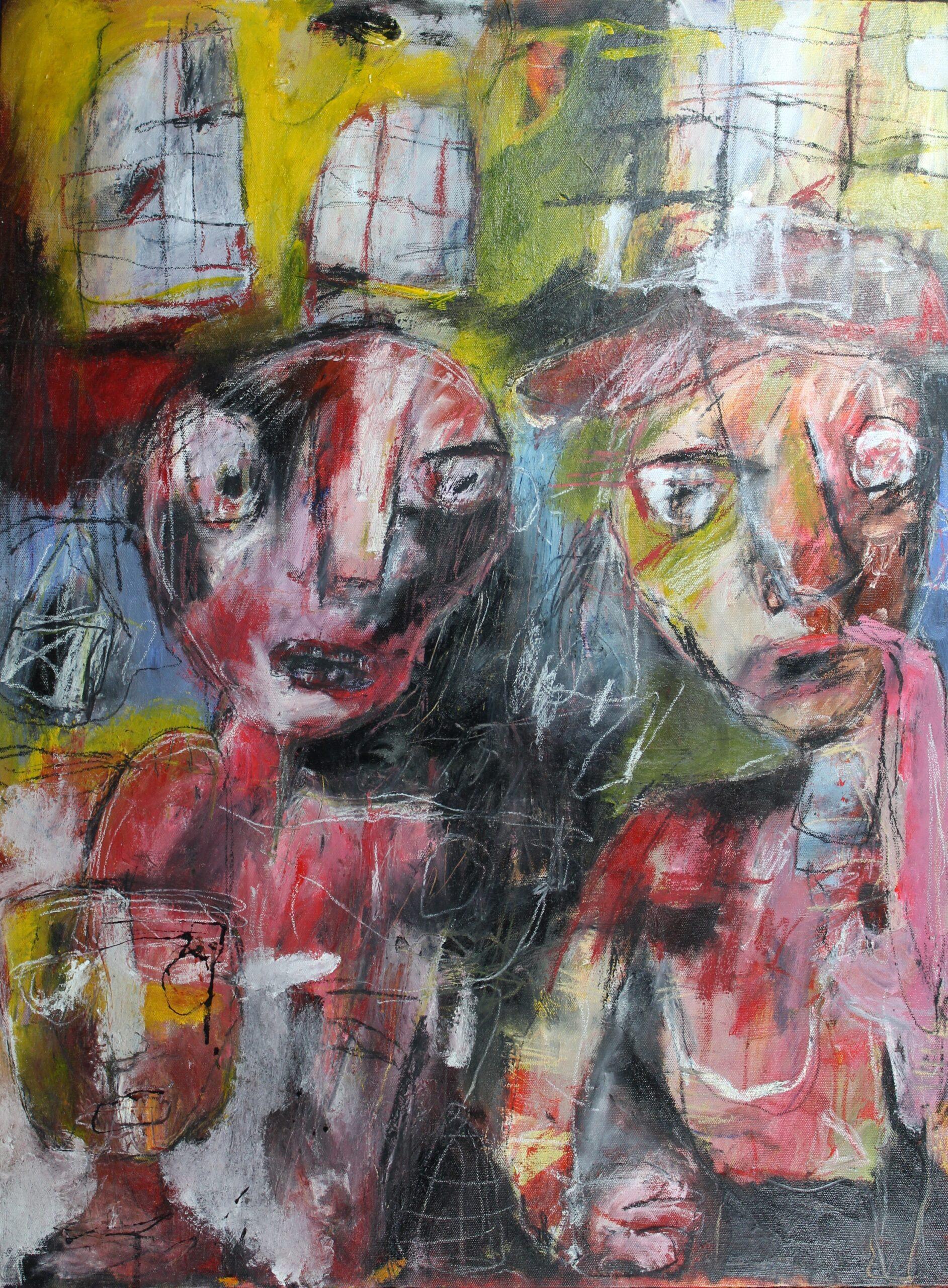Roddel en achterklap, gemengde techniek op canvas, 60 x 80 cm, 2015