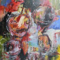 Verbrijzel de stilstand, gemengde techniek op canvas, 70 x 90 cm, 2014