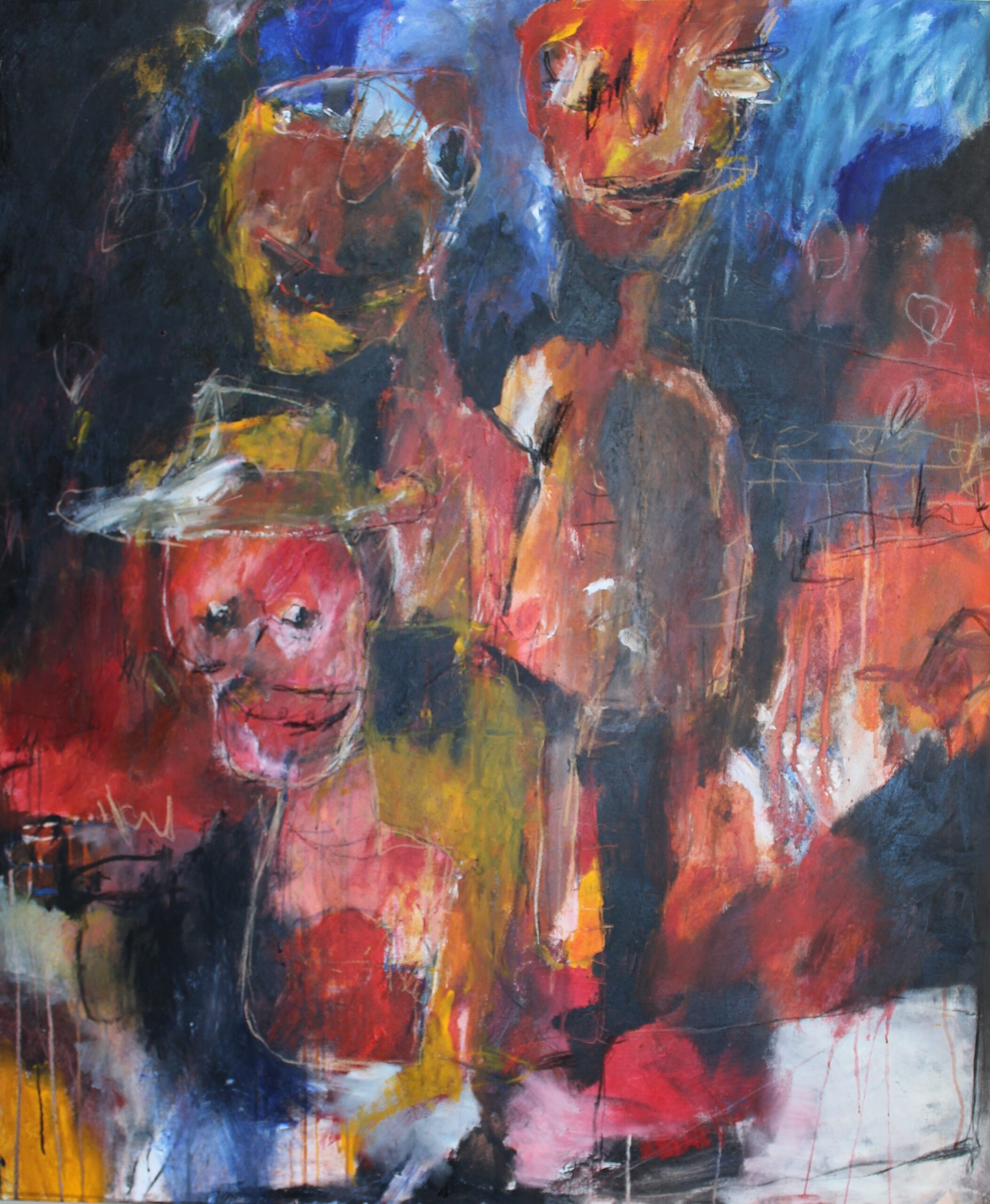 Wild boys, gemengde techniek op canvas, 100 x 120 cm, 2016