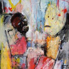 Een moeizaam gesprek, mixed media on paper, 25,2 x 29 cm, 2020 v