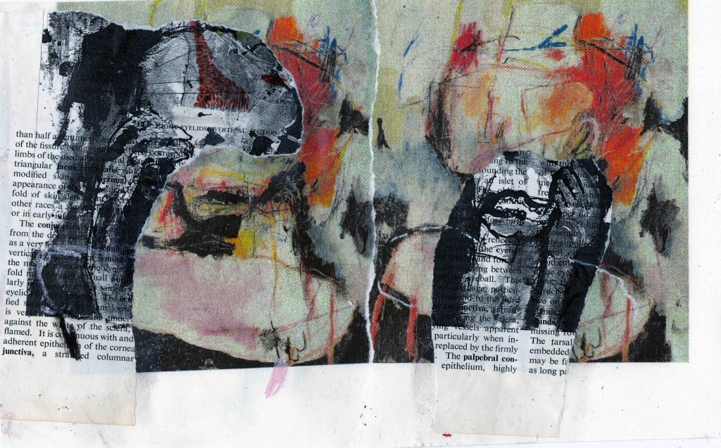 Voices (calling me through the ceiling of my private room), mixed media on paper, 26,4 x 16,2 cm, 2021