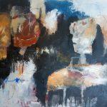 Dreigend feestgedruis, mixed media on canvas, 80 x 60 cm, 2021